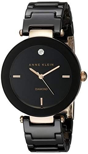 Anne Klein Damen AK1018RGBK Diamond Dial Rose Gold-Tone Black Ceramic Bracelet Armbanduhr