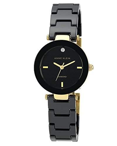 Anne Klein AKN1464BKGB Damen-Quarzuhr mit schwarzem Zifferblatt, Analog-Anzeige und schwarzem Keramik-Armband