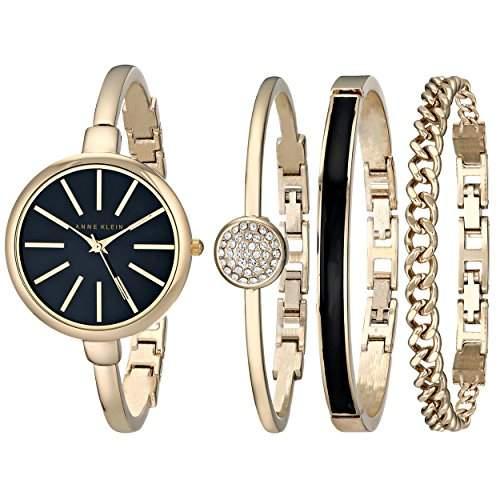 Anne Klein Damen-Armbanduhr 32mm Armband Messing Gold + Gehäuse Quarz Zifferblatt Schwarz AK1470GBST