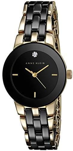 Anne Klein Damen AK1610BKGB Diamond Dial Gold-Tone and Black Ceramic Bracelet Armbanduhr