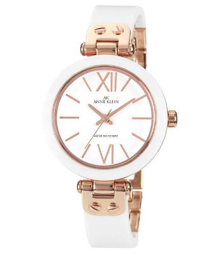 AK Anne Klein- 1196RGWT Damen-Armbanduhr Alyce Quarz Analog Kunststoff Weiss