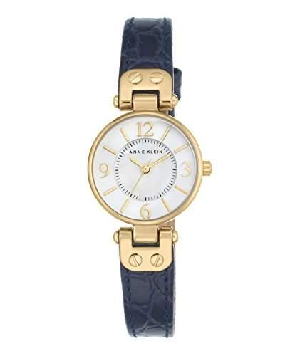 Anne Klein Damen-Armbanduhr Analog Quarz Leder AK1394MPNV
