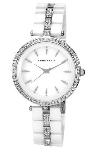 Anne Klein WomenQuarz-Uhr mit weissem Zifferblatt Analog-Anzeige und weisse Ceramik ArmbandAK N1445WTSV