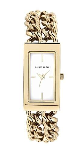 Anne Klein Damen Quarzuhr mit weissem Zifferblatt Analog-Anzeige und Gold Edelstahl Armband AKn1668wtgb