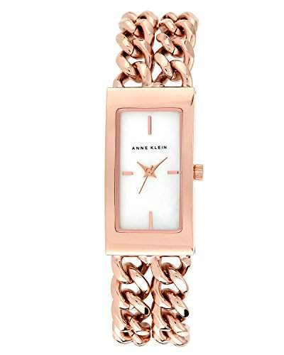 Anne Klein AKN1668WTRG Damen-ArmbanduhrChronograph, Quarzuhrwerk, mit weißem Zifferblatt, analoger Anzeige und rotgoldenem Edelstahlarmband