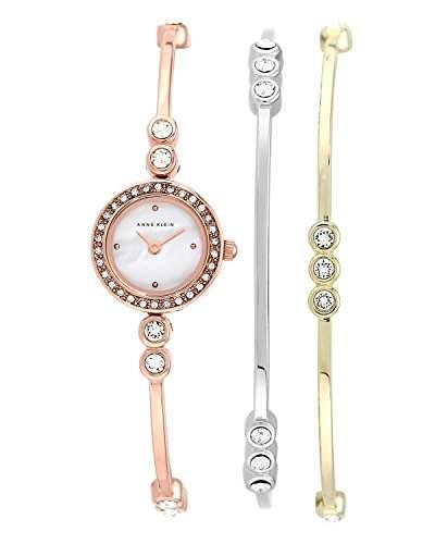 Anne Klein WomenArmbanduhr Analog Quarz Edelstahl Rose Gold ArmbandN1690TRST AK