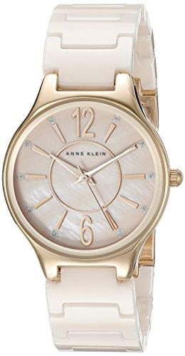 Anne Klein Damen AK 2182rglp Glitzer akzentuierten Rose goldfarbene und Light Pink Keramik Armband Armbanduhr