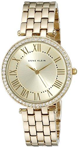 Anne Klein Damen AK 2230chgb Swarovski Kristall akzentuierten goldfarbenen Armband Armbanduhr