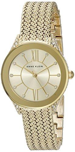 Anne Klein Damen AK 2208chgb Swarovski Kristall akzentuierten goldfarbenen Mesh Armband Armbanduhr