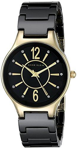 Anne Klein Damen AK 2182bkgb Glitzer akzentuierten goldfarbenen und schwarz Keramik Armband Armbanduhr