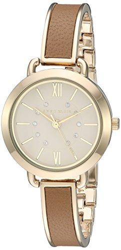 Anne Klein Damen AK 2436dtgb Swarovski Crystal akzentuierten goldfarbenen und Dark Tan Armreif Armbanduhr