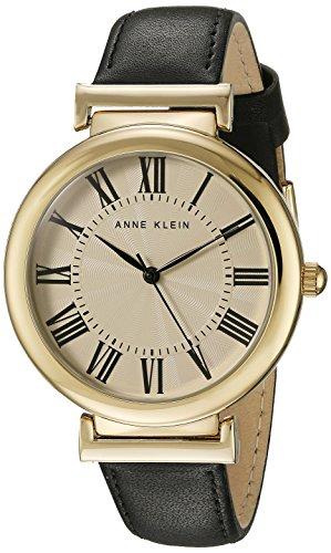Anne Klein Damen AK 2136crbk goldfarbene und schwarz Lederband Armbanduhr
