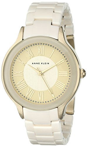 Anne Klein Damen AK 1948ivgb Necklaces Halskette und Armband Uhr mit Keramik Elfenbeinfarben