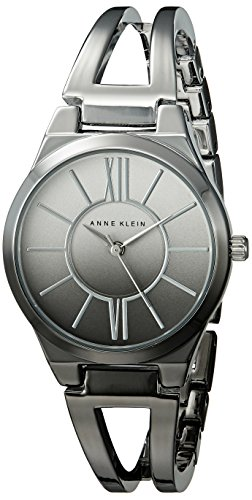 Anne Klein Damen AK 2153omgy silberfarbenes und Gunmetal Ombre Offene Armreif Armbanduhr