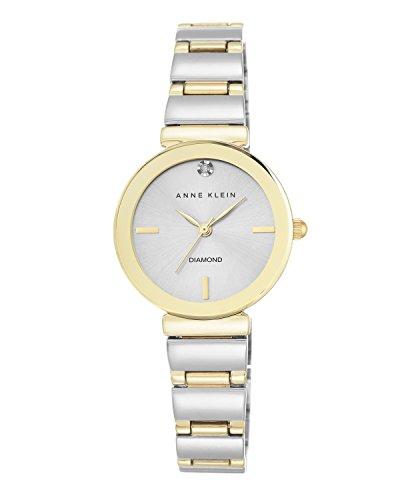 Anne Klein Damen Armbanduhr Chronograph Quarzuhr silberfarbenes Zifferblatt analoges Display zweifarbiges Armband N2435SVTT