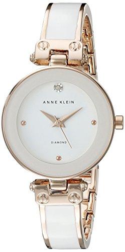 Anne Klein Damen AK 1980wtrg diamond accented Zifferblatt weiss und rose goldfarbene Armreif Armbanduhr