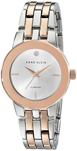 Anne Klein Damen AK 1931svrt diamond accented Zifferblatt silberfarbenes und Rose goldfarbene Armband Armbanduhr