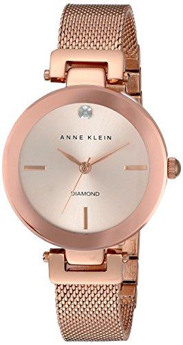 Anne Klein Damen Quarzuhr mit Rosa Zifferblatt Analog Anzeige und Rose Gold Legierung Armband AK n2472rgrg