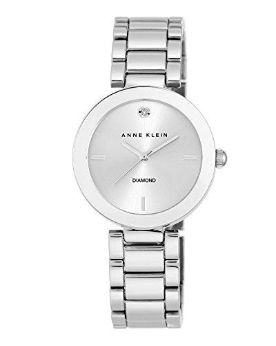 Anne Klein Damen Quarzuhr mit Silber Zifferblatt Analog Anzeige und Silber Legierung Armband AK n1363svsv