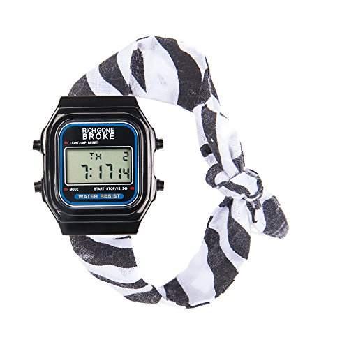 Rich Gone Broke DLBbr Armbanduhr, Digitalanzeige, Quarzwerk, Armband aus zweifarbigem Stoff, schwarzes Zifferblatt