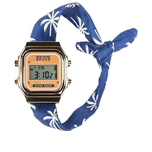 Broke-Rich Gone DLGri-Armbanduhr, Digital analog Stoff, Schwarz