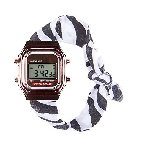 Broke-Rich Gone DLRGbr-Armbanduhr, Digital-analog Stoff-bi-color