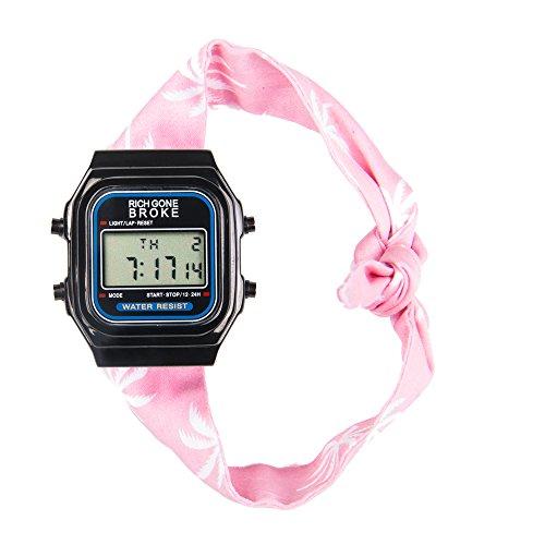 rich Gone Broke dlbbu Armbanduhr Quarz Digital Zifferblatt schwarz Armband Stoff rot