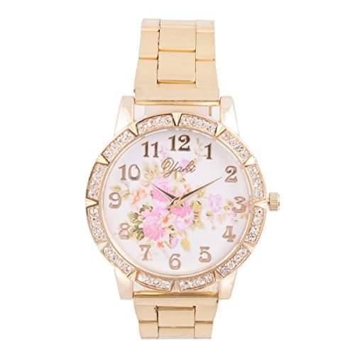 YAKI Damen Armbanduhr Damenuhr Trend Uhren Blumenmuster Quarz Uhr 2234-5