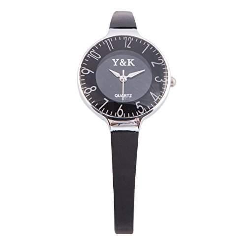 YAKI Damen Armbanduhr Trend Damenuhren Quarz Uhr Silicagel Armband Schwarz 9532-BLK