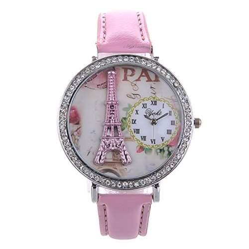 Elegante Uhr Damen Maedchen Armbanduhren Paris Effiel Turm Thema Automatikuhr Quarz Uhren Strass mit Lederarmband Pink YAKI CTK1226-P