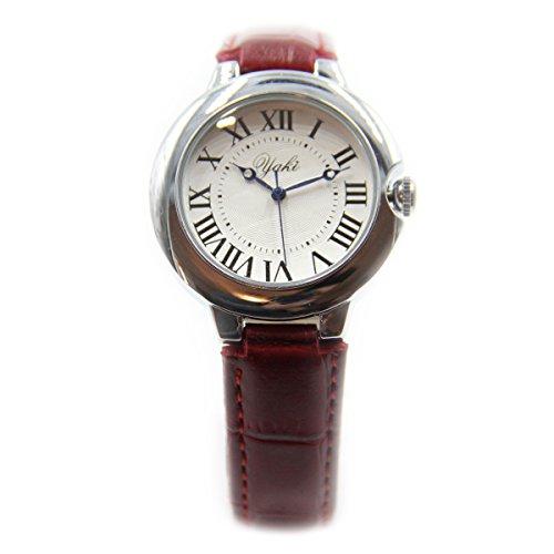 YAKI Elegant Armbanduhr Damen Damenuhr Analog Quarz uhr mit PU Lederarmband Rot CT8311 R