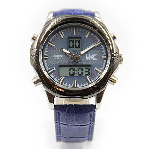 YAKI Uhr Analog Digital Quarz Uhr mit Einstellbare Doppel Geographische Zeit Blau Armband B26 BL