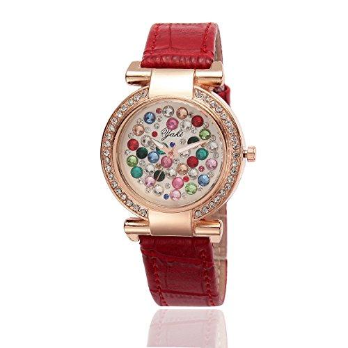 YAKI Fashion Casual Luxus Strass Analog Quarz Uhr Rot Armband Gold Zifferblatt
