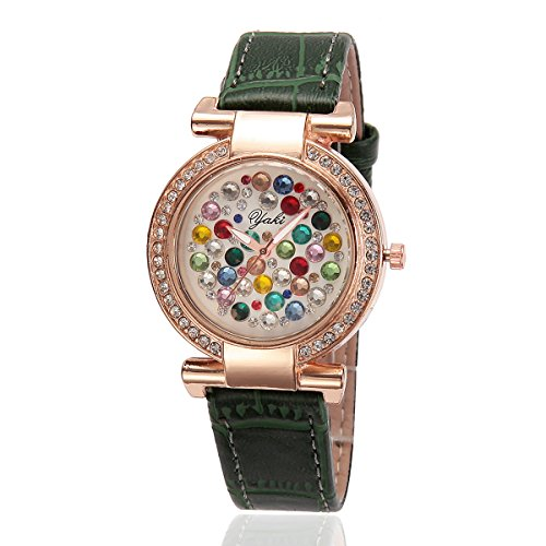 YAKI Fashion Casual Luxus Strass Analog Quarz Uhr Gruen Armband Gold Zifferblatt