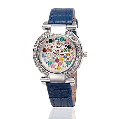 YAKI Damen Armbanduhr Fashion Casual Luxus Strass Analog Quarz Uhr Blau Armband