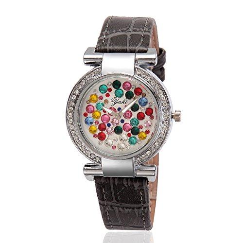 YAKI Damen Armbanduhr Fashion Casual Luxus Strass Analog Quarz Uhr Grau Armband