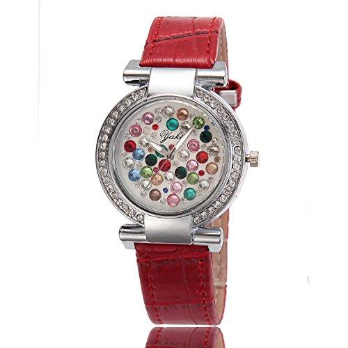 YAKI Damen Armbanduhr Fashion Casual Luxus Strass Analog Quarz Uhr Rot Armband