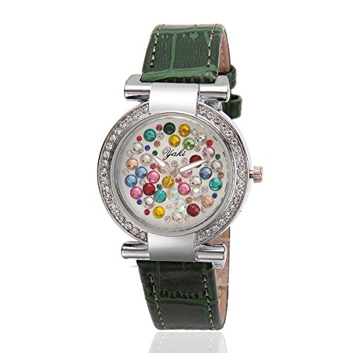 YAKI Fashion Casual Luxus Strass Analog Quarz Uhr Gruen Armband