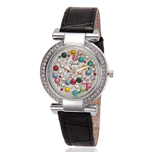 YAKI Fashion Casual Luxus Strass Analog Quarz Uhr Schwarz Armband