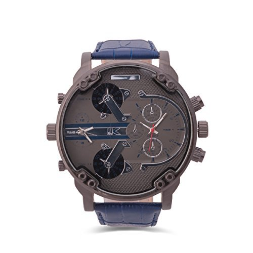 YAKI Armbanduhr Herrenarmbanduhr Analog Quarz Uhr Dual Time Zone 1688 BL