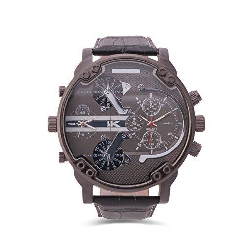 YAKI Armbanduhr Herrenarmbanduhr Analog Quarz Uhr Dual Time Zone 1688 B