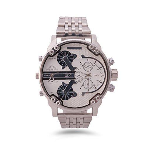 YAKI Armbanduhr Herrenarmbanduhr Analog Quarz Uhr Dual Time Zone T1688 W
