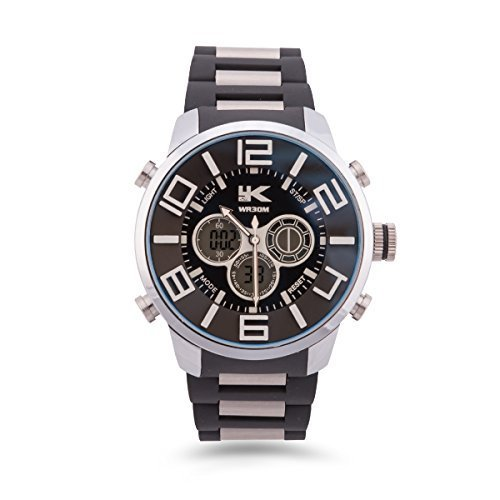 YAKI Armbanduhr Herrenarmbanduhr Analog Digital Quarz Uhr Schwarz 1432 BLA