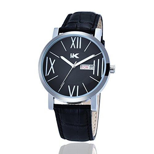 YAKI Armbanduhr Herren Lederarmband Uhr Analog Quarzuhr Kalender 3ATM Wasserdicht Schwarz Neu