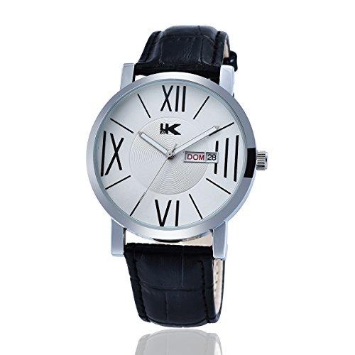 YAKI Armbanduhr Herren Lederarmband Uhr Analog Quarzuhr Kalender 3ATM Wasserdicht Weiss Neu