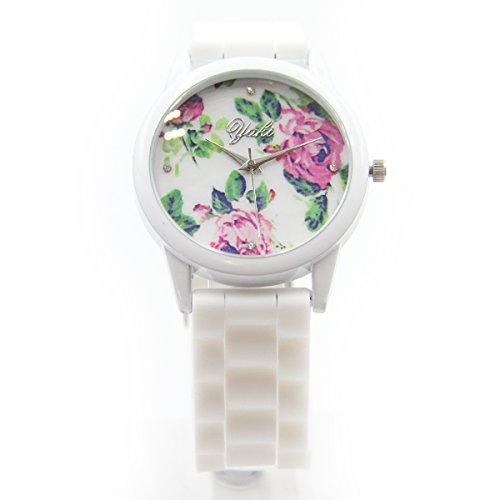YAKI Fashion Uhr Analog Quarz Uhren Damen Armband Silicagel Blumenmuster Weiss WG011 W