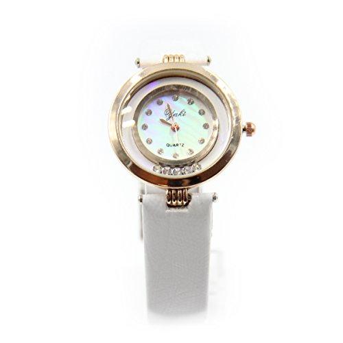 YAKI Elegante Uhr Uhren Damen Analog Quarzuhr Mit PU Lederarmband Weiss CT8145 W