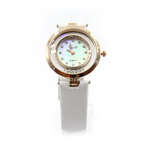 YAKI Elegante Damen Armbanduhr Uhr Uhren Damen Analog Quarzuhr Mit PU Lederarmband Weiss CT8145 W
