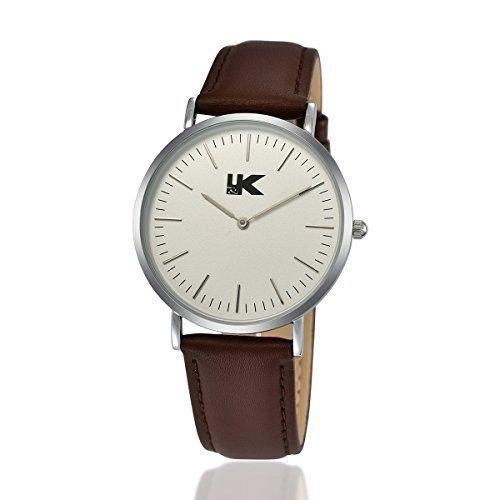 YAKI Classic Analog Quarz Uhr Kalbsleder Armband Weiss Zifferblatt 8001 C