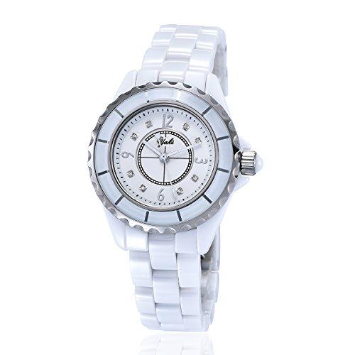 YAKI Elegante Damen Armbanduhr Casual Damenuhr Analog Quarz Uhr Keramik 3ATM Wasserdicht Weiss Neu